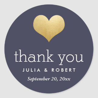 Modern Faux Gold Foil Heart Navy Blue Thank You Round Sticker