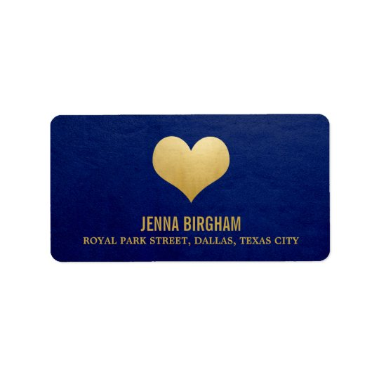 Modern Faux Gold Foil Heart Navy Blue Wedding Label