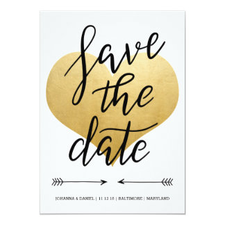 Modern Faux Gold Foil Heart Save The Date Script Card