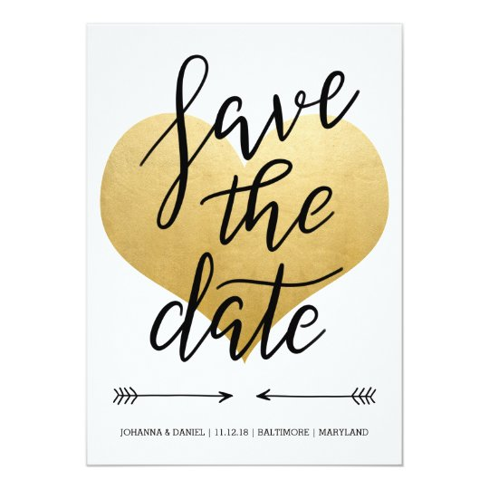 Modern Faux Gold Foil Heart Save The Date