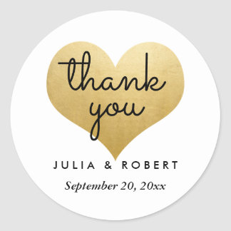 Modern Faux Gold Foil Heart Thank You Typography Round Sticker