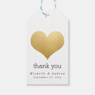 Modern Faux Gold Foil Heart Thank You Wedding Gift Tags