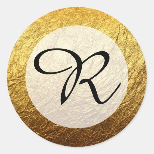 Modern Faux Gold Foil Monogram Round Sticker
