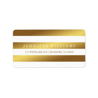 Modern Faux Gold Foil Stripes Address Label