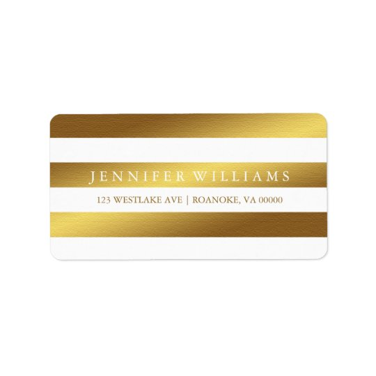 Modern Faux Gold Foil Stripes Label