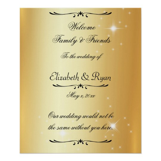 Modern, Faux, Gold Foil, Wedding Reception,Welcome Poster