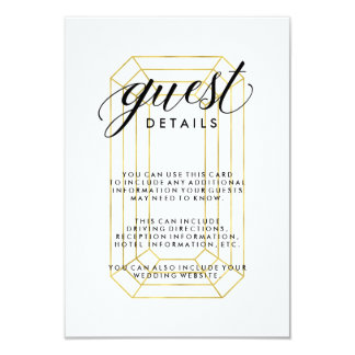 Modern Faux Gold Geometric Diamond Guest Details 9 Cm X 13 Cm Invitation Card