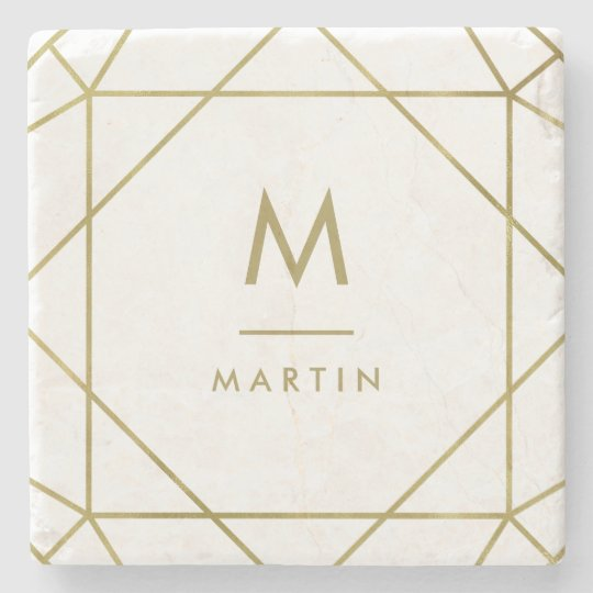 Modern Faux Gold Geometric Lines with Monogram Stone