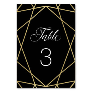Modern Faux Gold Geometric on Black Table Cards