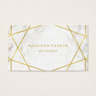 Modern Faux Gold Geometric on White Marble Business Card