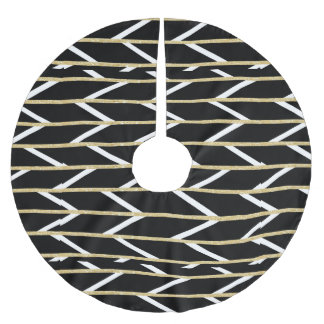Modern faux gold glitter black chevron pattern brushed polyester tree skirt