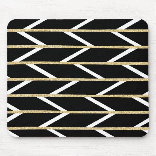 Modern faux gold glitter black chevron pattern mouse