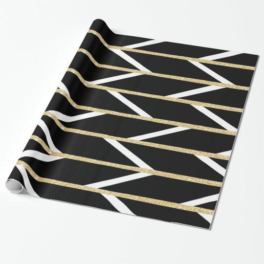 Modern faux gold glitter black chevron pattern wrapping