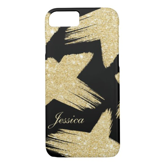 Modern faux gold glitter brushstrokes monogram iPhone 8/7