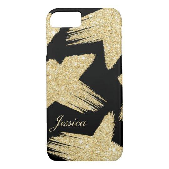 Modern faux gold glitter brushstrokes monogram iPhone 8/7