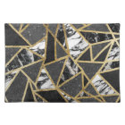 Modern Faux Gold Glitter Marble Geometric Triangle Placemat