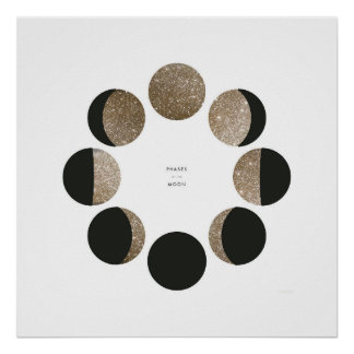 Modern Faux Gold Glitter Moon Phase Chart