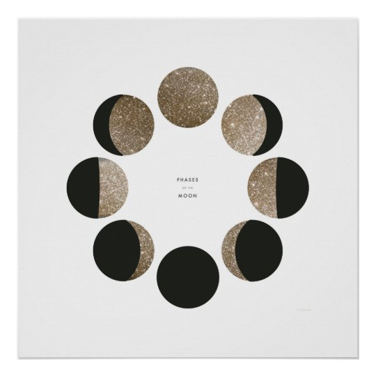 Modern Faux Gold Glitter Moon Phase Chart Poster