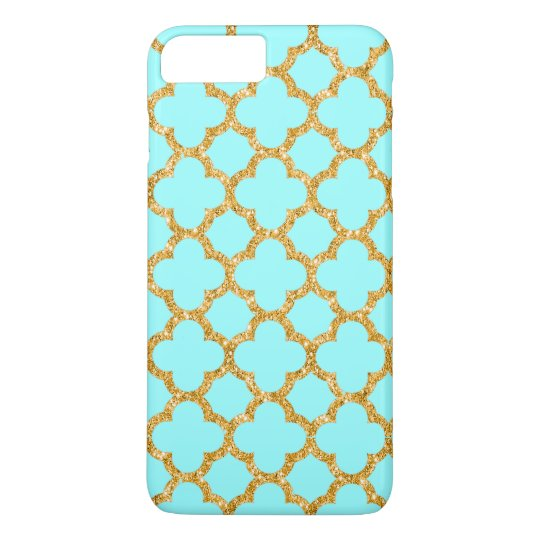Modern Faux Gold Glitter Mosaic Quatrefoil Pattern iPhone 7 Plus Case