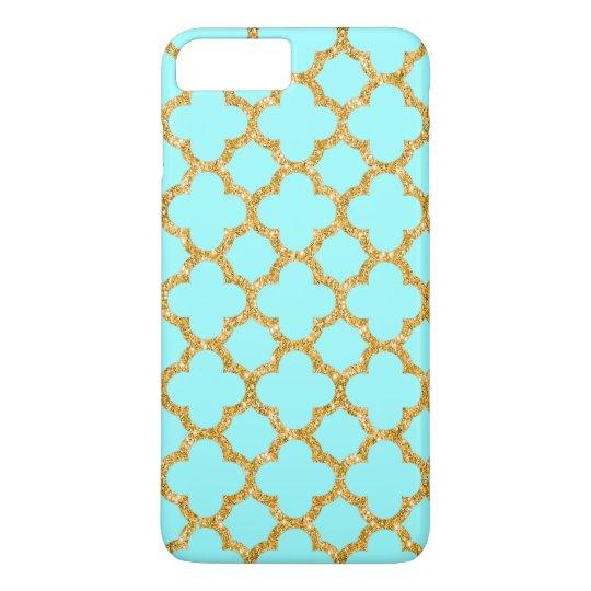 Modern Faux Gold Glitter Mosaic Quatrefoil Pattern iPhone 8 Plus/7 Plus Case