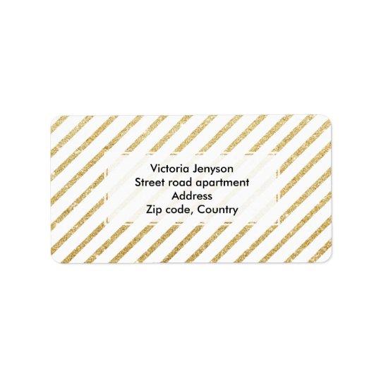 Modern faux gold glitter stripes pattern address label