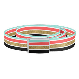 Modern faux gold glitter stripes pattern design belt