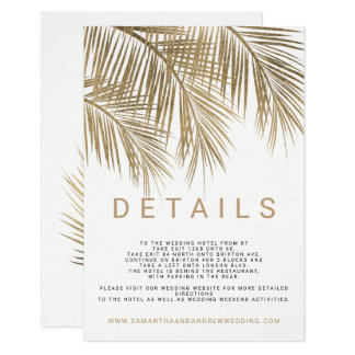 Modern faux gold palm tree elegant wedding details card