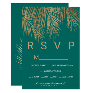 Modern faux gold palm tree green RSVP wedding Card