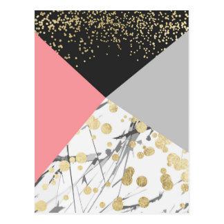 Modern faux gold pink color block confetti postcard