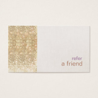 Modern FAUX Gold Sequins Refer A Friend Card Salon