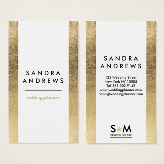 Modern faux gold stripes wedding planner monogram business