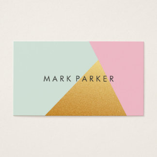 Modern Faux Green, Pink White Gold Geometric Block Business Card