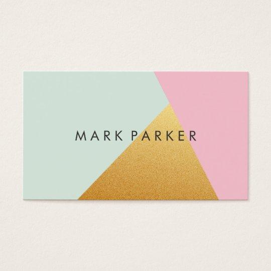 Modern Faux Green, Pink White Gold Geometric Block