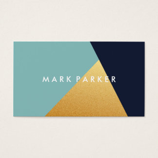 Modern Faux Navy, Blue White Gold Geometric Block Business Card