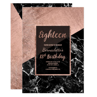Modern faux rose gold black marble 18th birthday card