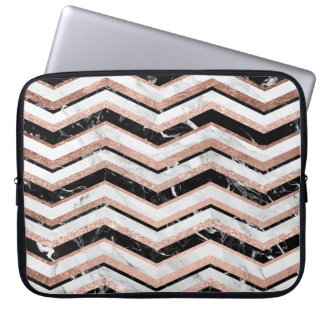 Modern faux rose gold black white marble chevron laptop sleeve