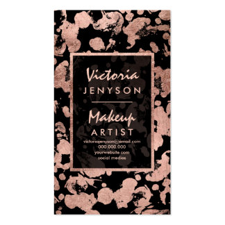 Modern faux rose gold brushstrokes Makeup artist Pack Of Standard Business Cards