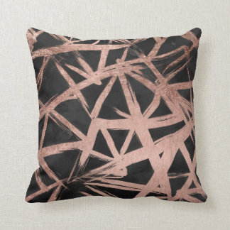 Modern faux rose gold brushstrokes triangles throw pillow