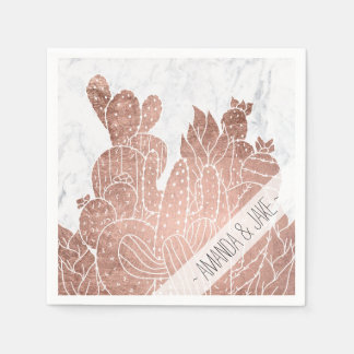 Modern faux rose gold cactus marble pattern disposable napkin
