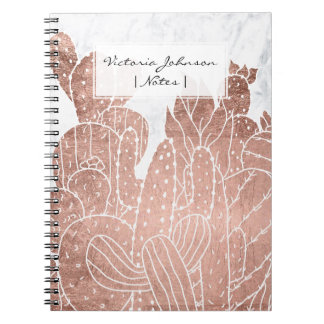 Modern faux rose gold cactus marble pattern notebook