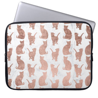 Modern faux rose gold cats pattern white marble laptop sleeve