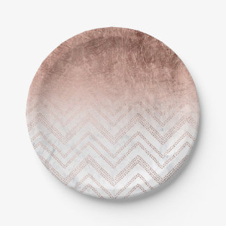 Modern faux rose gold chevron sticth marble paper plate