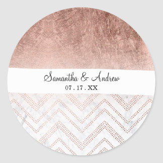 Modern faux rose gold chevron sticth ombre pattern classic round sticker