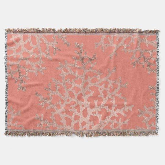 Modern faux rose gold coral sea pattern salmon
