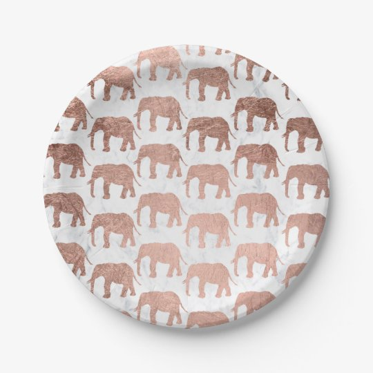 Modern faux rose gold elephants white marble paper