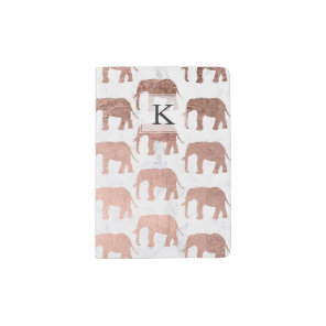 Modern faux rose gold elephants white marble passport holder
