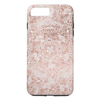 Modern faux rose gold floral mandala hand drawn iPhone 8 plus/7 plus case
