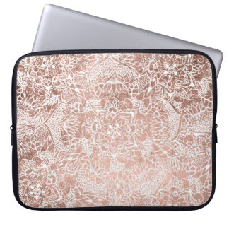 Modern faux rose gold floral mandala hand drawn laptop sleeve