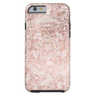 Modern faux rose gold floral mandala hand drawn tough iPhone 6 case