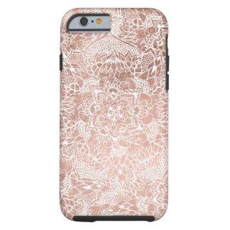 Modern faux rose gold floral mandala hand drawn tough iPhone 6 case